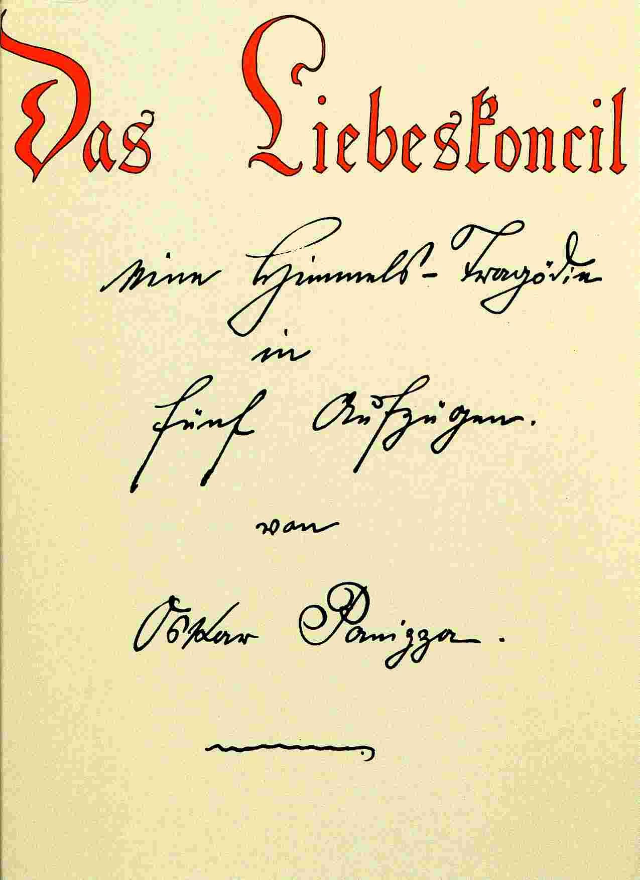 Liebeskoncil manuscript title page